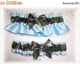 SALE 10% OFF Camouflage Wedding Garter Set Light Blue BB