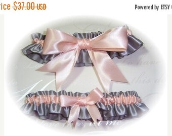 SUMMER SALE Gorgeous Platinum and Peach Keepsake and Toss Garter Set BB