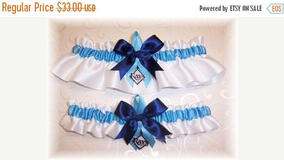 FALL SALE Handmade Wedding Garter Set Tampa Bay Rays Satin w-cnc