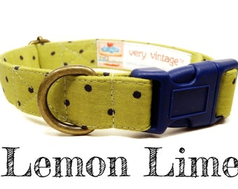 "Lime Green Navy Blue Polka Dot - Organic Cotton - Antique Brass Hardware - ""Lemon Lime"""