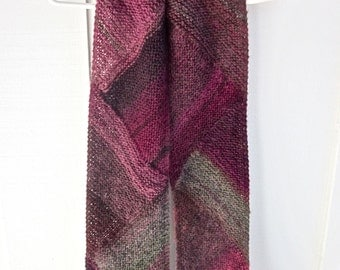Woman's Scarf, Hand Knit/ An Exquisite Composition of Color and Triangles/ Merlot;  An Abstract Scarf-Work of Wearable Art