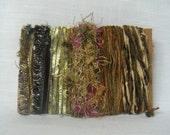 Art Yarn Bundle Scrap Fiber Green Earth Tones 1280