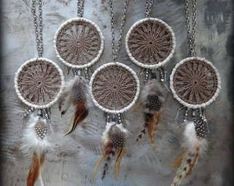On Sale, Dream Catcher Necklace, Bohemian, Boho, Handmade, Lace, Crochet, Antique Silver, Feathers, Glass Beads, Mocha Brown Thread, Monicaj