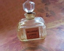 Vintage France Bellodgia Caron Baccarat Crystal Perfume Bottle, .5 Ounce Size with Original Paper Label and Original Gold Cord, Collectible