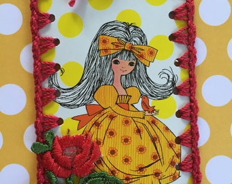 Vintage Playing Card Book Mark / Ornament / Tag -  Crochet Flower Power Girl in Yellow