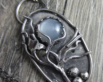 SALE The Dark Night Necklace - SterlIing Silver Trees, Bats and Moonstone