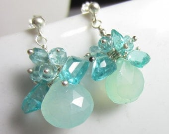 Mint Tea Earrings - Aqua Chalcedony topped with Apatite on Silver