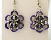 Silver and Purple Chainmaille Flower Earrings Handmade