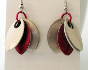 Pale Gold and Red Spike Earrings Handmade