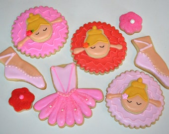 BALLERINA BALLET THEME assorted decorated cookies.  3D ballerinas, Dance class, birthday, party, shoes, dress, flowers