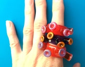 Colourful Ring, Gifts Under 50, Women's Jewelry, Lampwork Glass Ring, Sculptural Ring, Glass Jewellery, Unusual