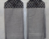 SET of 2 - Hanging Cloth Top Kitchen Hand Towels - Black and Gray Compass Print - Grey Towels