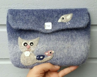 Felted bag pouch purse bag hand knit needle felted blue wool needle felted kitty cat birdie birds