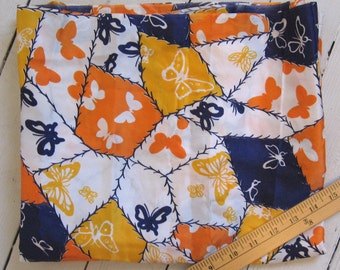"butterflies patchwork print silk fabric -- boho 1970's vintage -- novelty print, cheater print, orange, navy, yellow -- 45"" x 2 yards"
