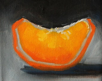 Original Oil Painting, Orange Citrus Slice, Tangerine, 6x6 Square Format Canvas, Gray, Small Kitchen Decor, Wall Art, Vegan, Tropical Fruit