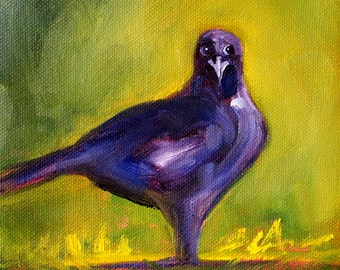 Raven Bird, Small Crow Oil Painting, Original 6x6 Canvas, Wild Creature, Woodland Animal, Yellow Green, Blue Black Purple, Small Wall Decor