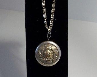 Vintage/Antique Metal Button Necklace Silvertone