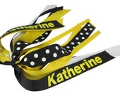 Yellow and Black - Name and Team custom Ponytail Bow Ribbon, Cheer Bow Hair Tie  with Personalized Name & Team- School Colors
