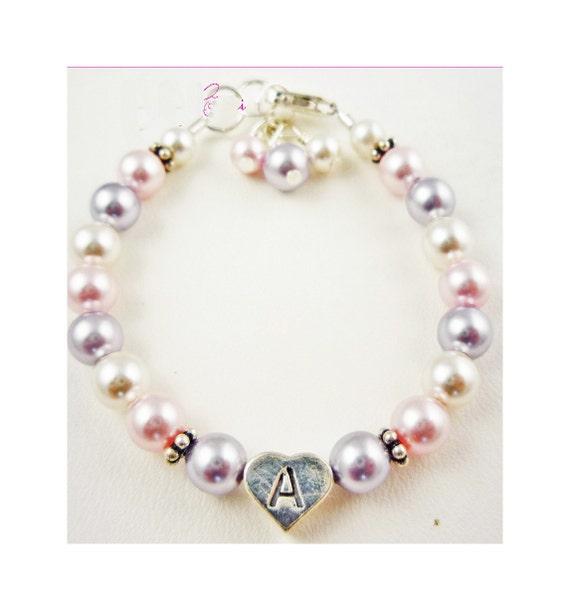 Girl's Swarovski pearl personalized Initial bracelet. Flower Girl Bracelet. Custom lavender, rosaline white and silver- choose any colors