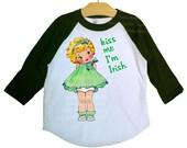 Kiss Me I'm Irish Girls Raglan Shirt, St. Patrick's Day, Custom Hair Color, Irish Girl Vintage Graphic T Shirt, size 2, 4, 6, 8, 10, or 12