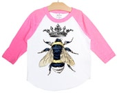 Queen Bee Shirt, Vintage Crown and Bumble Bee Graphic Raglan Shirt, pink black navy blue or red, size 2, 4, 6, 8, 10, or 12