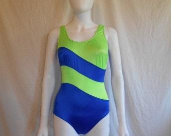 SALE Women's 80's 90's   SWIMSUIT  bathing suit   one piece  neon swim wear