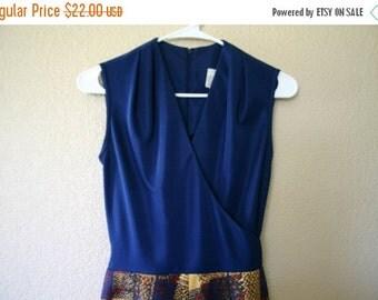 SALE Vintage womens clothing 70's Solid Print MAXI Dress Blue & Plaid sleeveless ARTSY