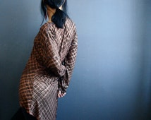 Slow Motion - iheartfink Handmade Hand Printed Womens Brown Metallic Copper Plaid Hi-Low Long Sleeves Jersey Tunic Top