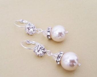 Large Pearl Earrings, Crystal Wedding Earrings, Ivory Pearl Bridal Earrings, Pearl Drop Crystal Earrings, Bridal Wedding Jewelry, STELLA