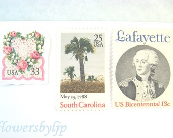 Romantic Southern Postage Stamps 2018 rate, South Carolina - Rose Love Wreath - Lafayette Stamps, Mail 20 Charleston Wedding Invites 2oz 71c