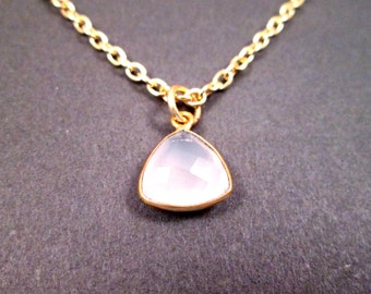 Gemstone Necklace, White Chalcedony Bezel Pendant, Gold Chain Necklace, FREE Shipping U.S.
