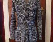 SALE Vintage 1970's Ladies Black White Marled Cardigan Sweater S/M