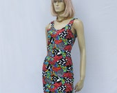 vintage 90s graffiti print BODY CON dress | colorful pattern tank dress |  S M