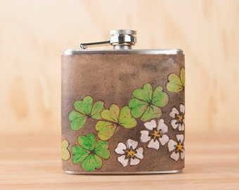 Leather Flask - Handmade Hip Flask in the Lucky Pattern with shamrocks and four leaf clovers - Green and black - third anniversary gift