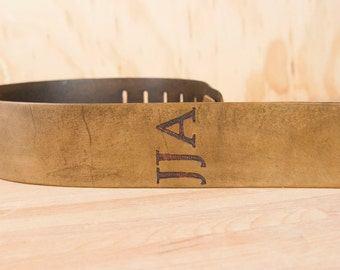 Leather Guitar Strap - Personalized Guitar Strap - Monogram Guitar Strap in Antique Brown