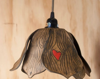 Pendant Light - Leather Lamp in the Nice pattern - woodgrain and heart