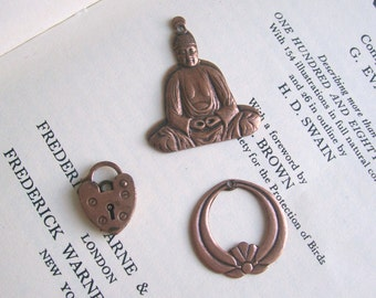 SALE Copper Charms mixed selection - heart lock - meditating buddha - deco circle - stampings - 3 pieces