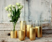 Gold wedding decor,  6 CUSTOM Gold dipped cylinder vases or candle holders, table decorations, wedding table centerpieces