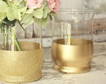 Gold vases, wedding decor, 6 gold dipped centerpiece vases or candle holders, gold glitter large vase, wide mouth vase