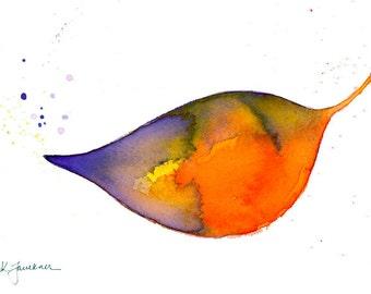 "Art print of a watercolor leaf: ""Floating Leaf"""