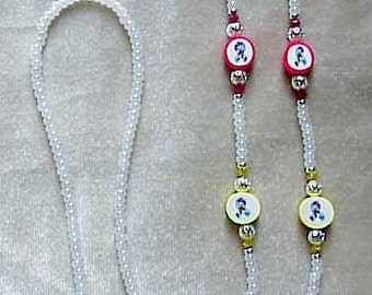 Austism Beaded Eyeglass Chain Polymer Clay Swarovski Elements