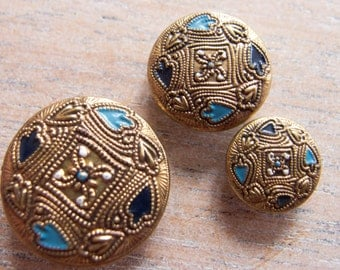 Vintage Antique Metal Stamped and Handpainted Buttons - Trio