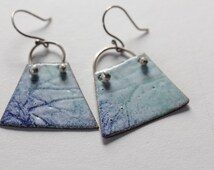Blue Green Trapezoid Shaped Enamel Earrings