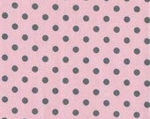 CLEARANCE 2 Yards Michael Miller Dumb Dots in Blossom (Pink with Gray)