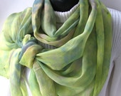 Hand Dyed Silk Chiffon Scarf for Women Spring Fashion  Womens Scarves Fashion Accessories Pastel Floral chartreuse green teal pink Easter