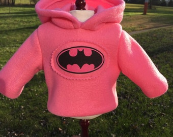 18 inch doll clothes fun BATMAN theme hoodie in PINK just for your special girl