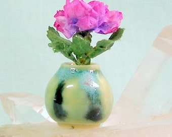Miniature Round Vase with Fuchsia Rose in One Inch Dollhouse Scale