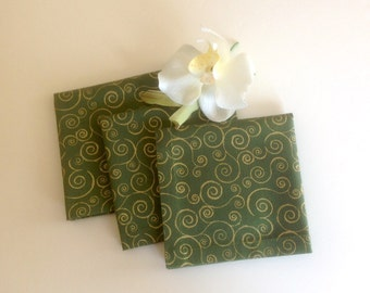Green with Shiny Gold Swirls Eco Friendly Cotton Cocktail Napkins, Fabric Cocktail Napkins Beverage Napkins - set of 6