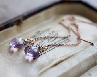 Amethyst earrings - rose gold ear threads with Brazilian amethyst briolettes - February birthstone