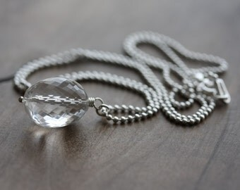 Crystal quartz necklace - AAA crystal quartz oval nugget on sterling silver ball chain